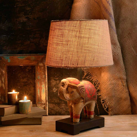 Teracotta Golden Elephant Lamp