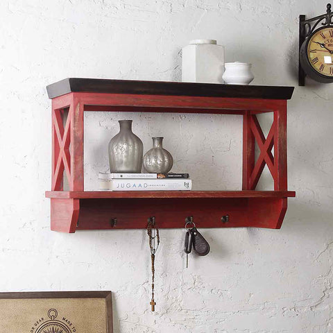 Alonza Solid Wood Distress Red Wall Shelve with hooks 1
