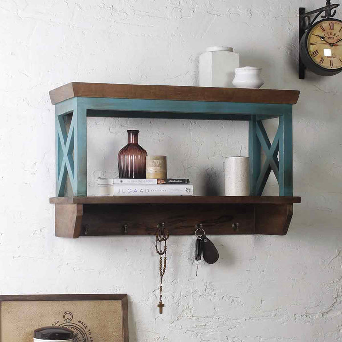 Alonza Solid Wood Vintage Green Wall Shelve with hooks 1