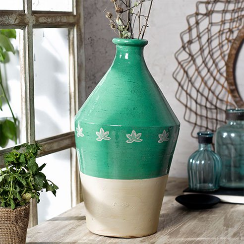 Buy Ombre Half Glossy Teal Vase online