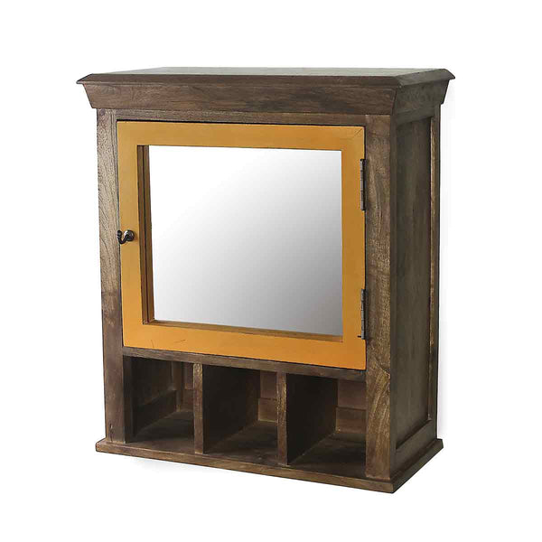 Solid Wood Vintage Yellow Bathroom Cabinet with Mirror 4