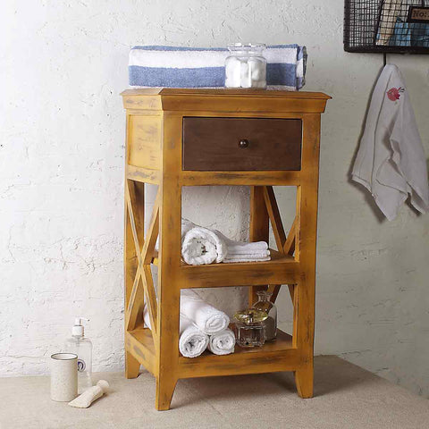 Solid Wood Distress Yellow Bathroom Floor Shelves 1