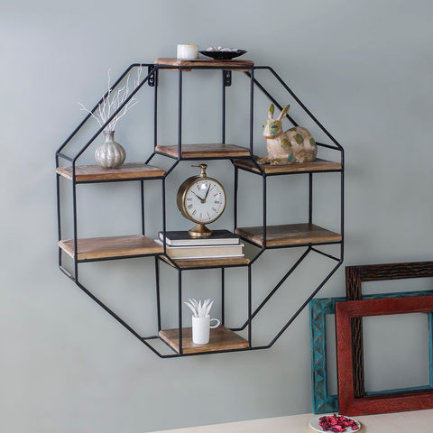 Octagon Metal Wall Shelf