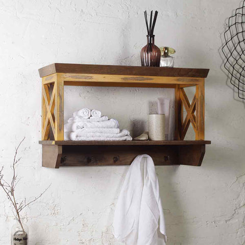 Solid Wood Distress Yellow Bathroom Shelves 1