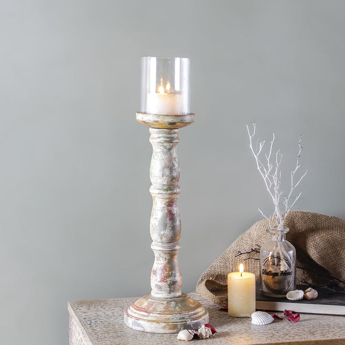 Ellie Rustic White Candle Holder