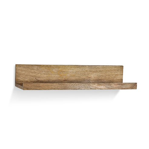 Natural wooden ledge with hooks