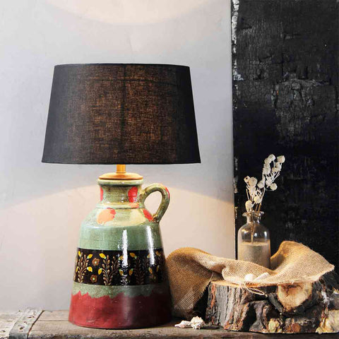 Estella Hand Painted Antique Half Glossy Table Lamp