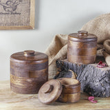 Set of 3 Basil Brown Wooden Boxes