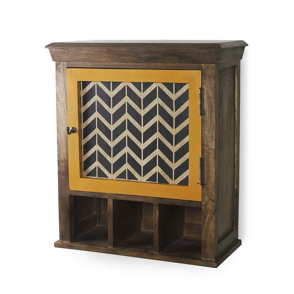 Alfredo Solid Wood Hand Painted Vintage Yellow Wall Shelve 4