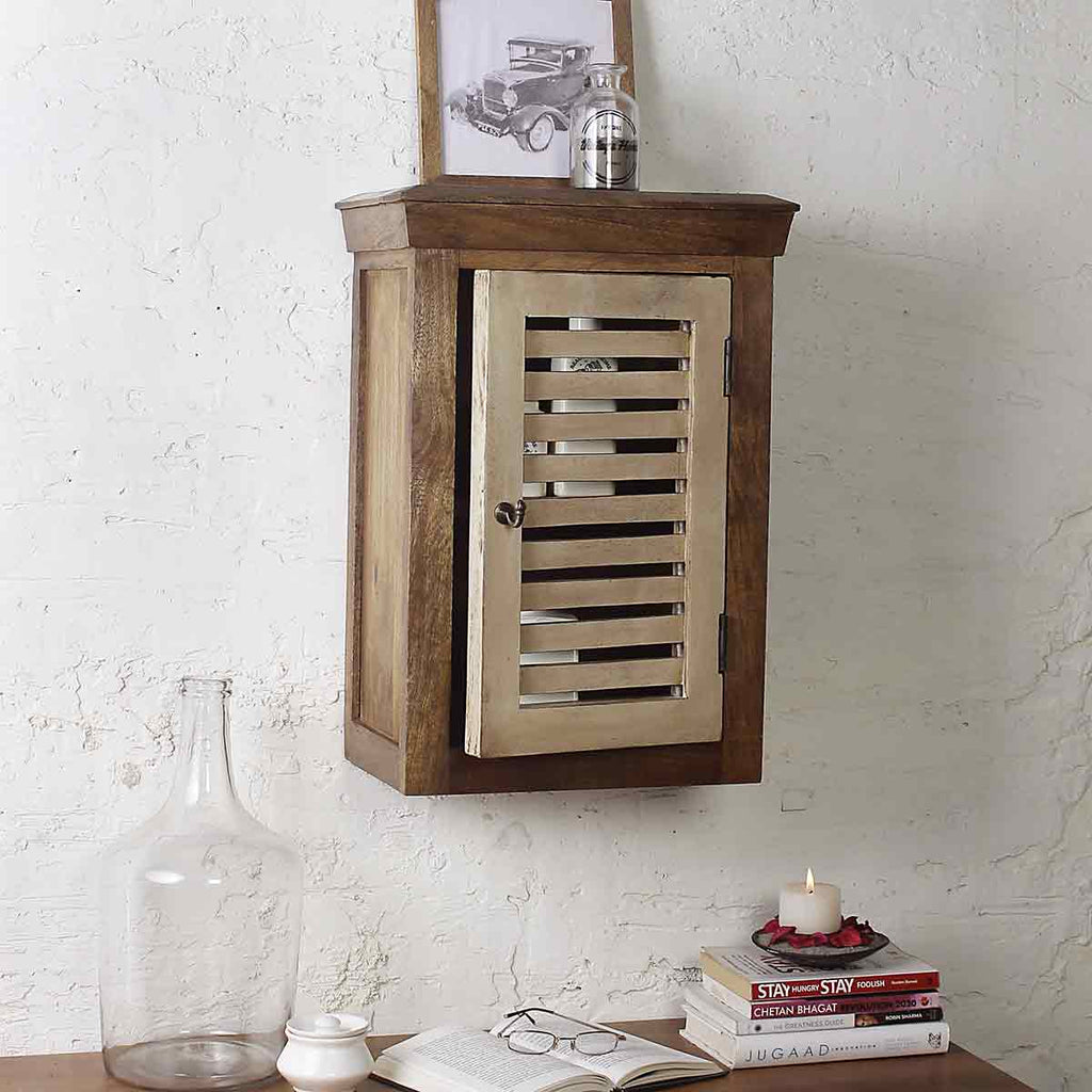 Cappi Solid Wood Vintage White Wall Shelve