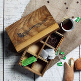 Rustic Wooden Box with 6 compartments