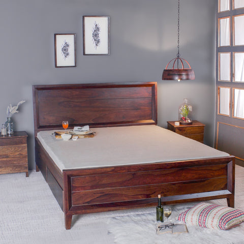Gaubert Solid Sheesham Wood Bed in Walnut