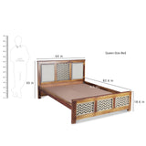 Kylian Hand Painted Solid Wood Bed with Cushion Backside