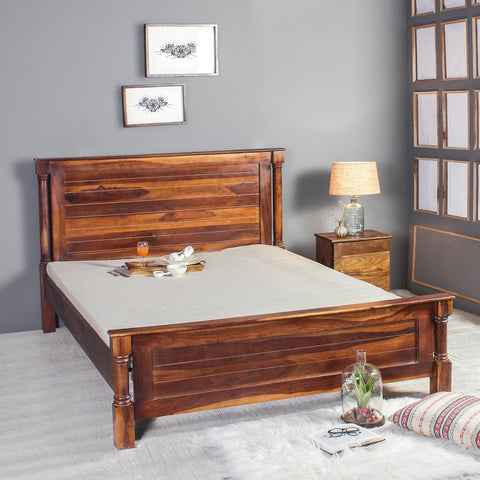 Raison Solid Sheesham Wood Bed