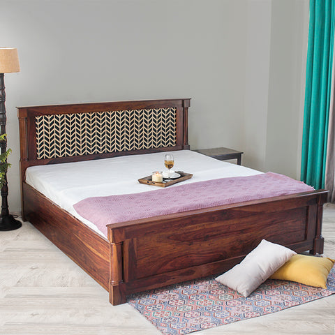 Raison Hand Painted Solid Wood Bed with Storage