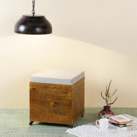 Noel Wooden Stool with Storage