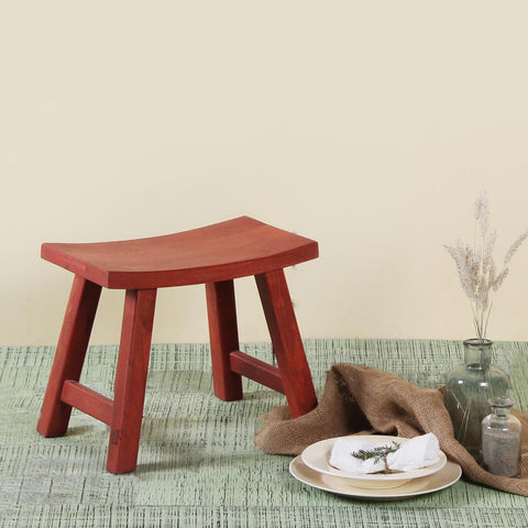 Vintage Red Wooden Stool