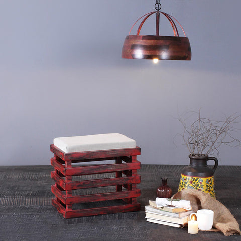 Roxane Solid Wood Stool in Vintage Red Finish