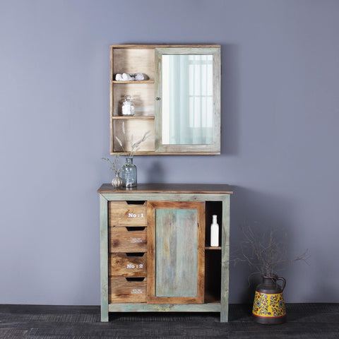 Gabriel Solid Wood Cabinet And Wall Shelf
