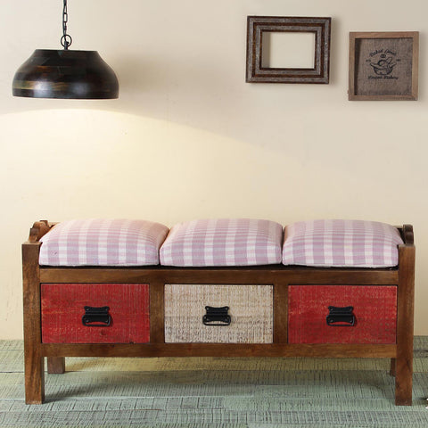 Agnes Solid Wood 3 Drawer Bench
