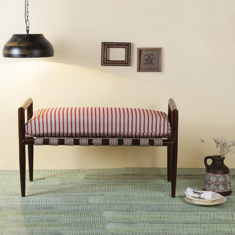 Alban Solid Wood hand woven Walnut Bench