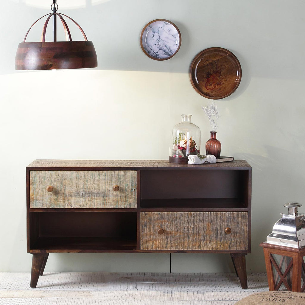 Octave Solid Wood Cabinet in Vintage Finish