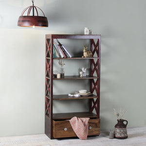 Paol Solid Wood Bookshelf Display Unit