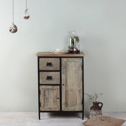 Regis Solid Wood and Iron Cabinet in Vintage Finish