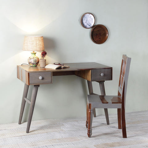 Raoul Solid Wood Study Table with Wooden Chair