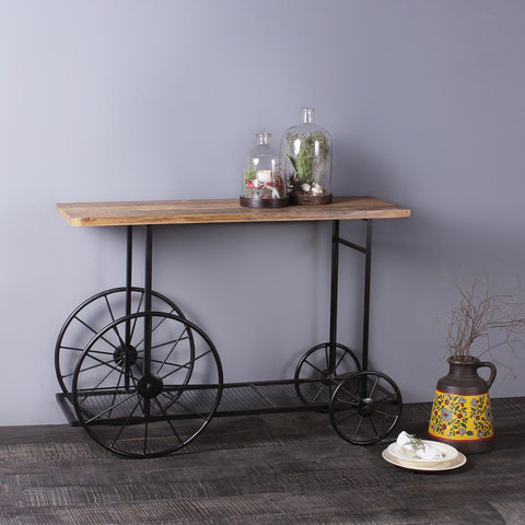 Serge Solid Wood and Iron Bar Table