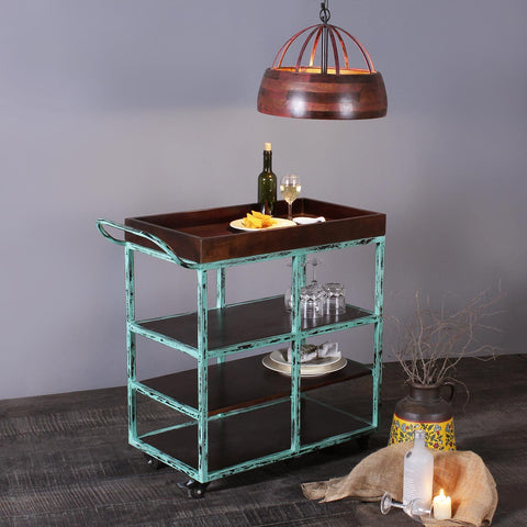 Salome Solid Wood and Iron Bar Trolly