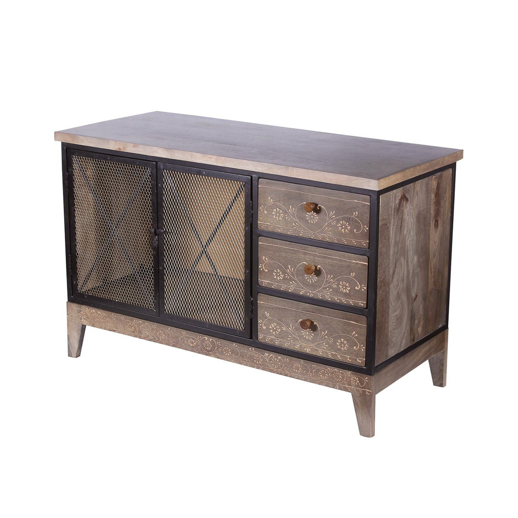 Industrial Solid Wood And Iron Cabinet Kitchen Cabinets