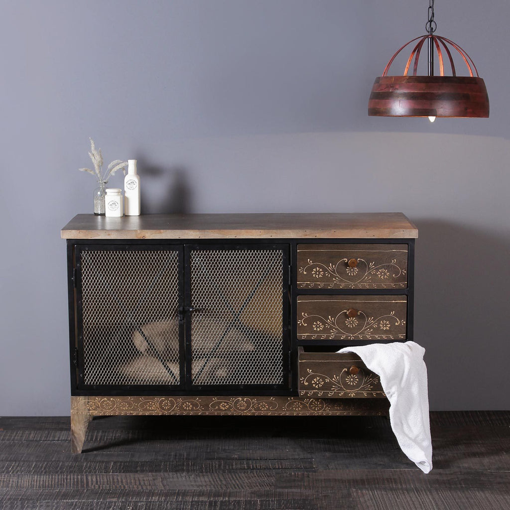 Industrial Solid Wood and Iron Cabinet