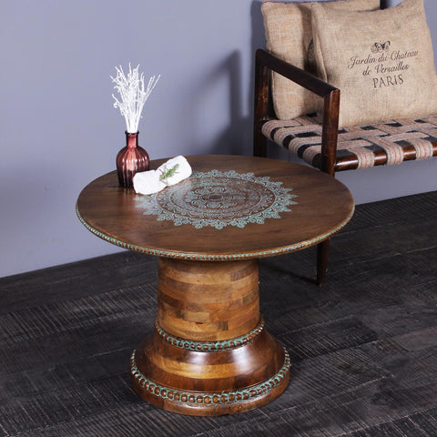 Pauline Solid Wood Hand Painted Round Coffee Table in Teak