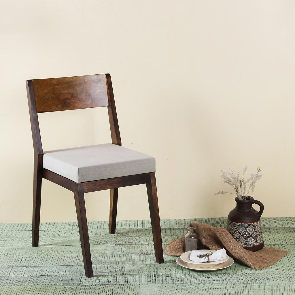 Nanon Solid Wood Chair with Grey Upholstery