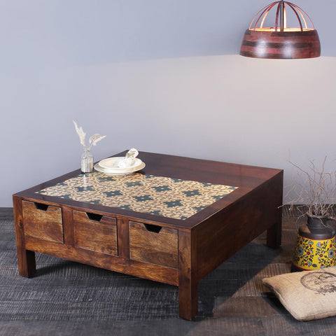 Albert handpainted Solid Wood Coffee Table