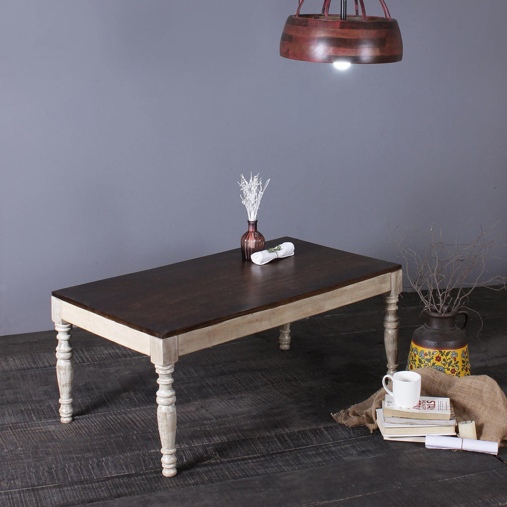 Esla Solid Wood Coffee Table in Vintage White
