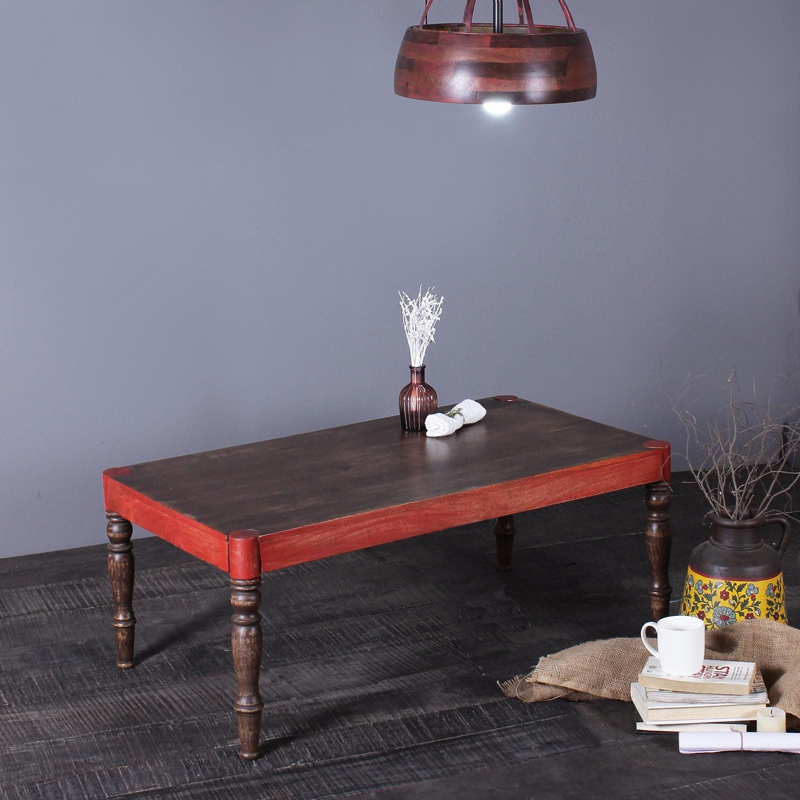 Esla Solid Wood Coffee Table in Vintage Red