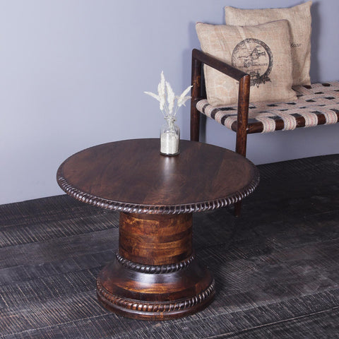 Pauline Solid Wood Round Coffee Table in Walnut