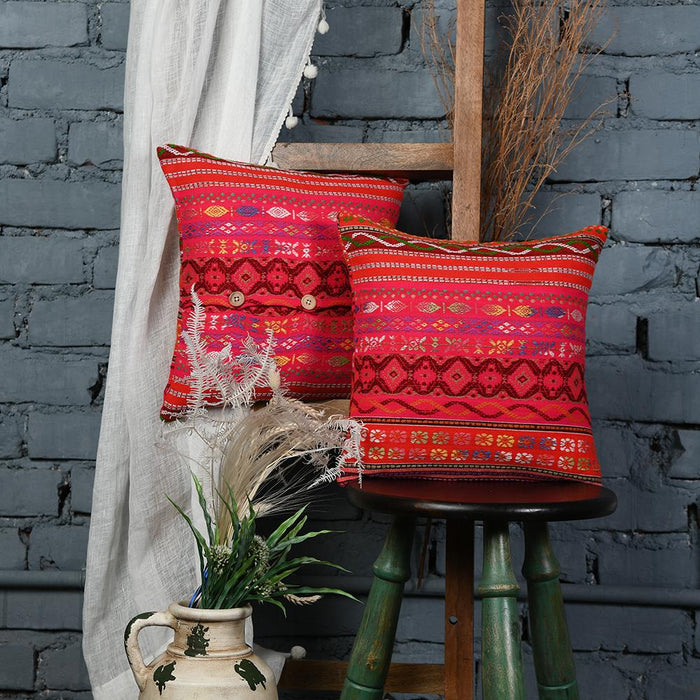 Multicolored Embroidered Red Cotton Cushion Covers set of 2