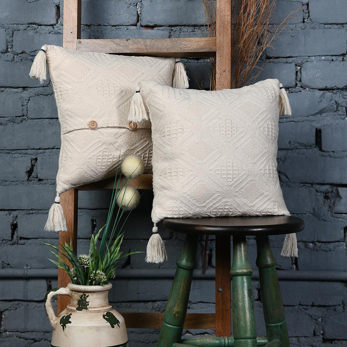Embroidered Cream Cotton Cushion Covers With Tassles set of 2