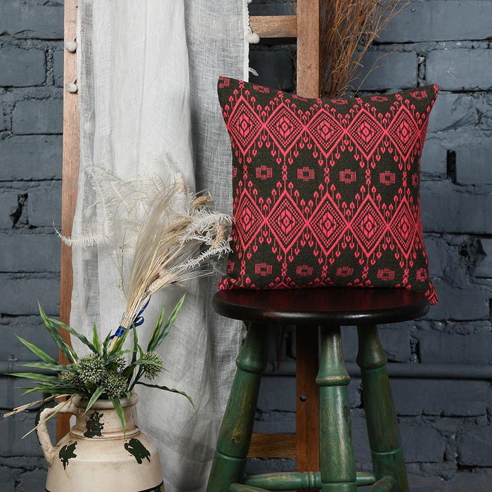 Red Emboridered Black Cotton Cushion Cover