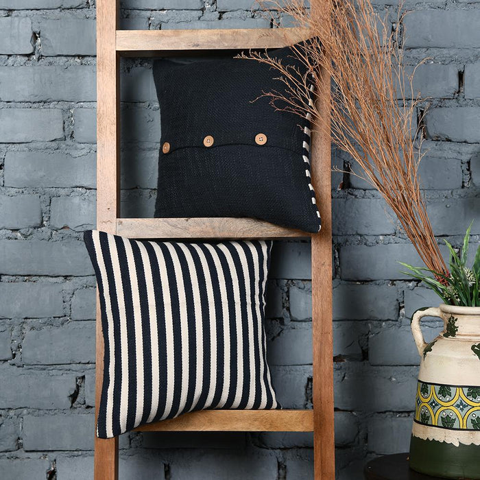 Black and White Striped Cotton Cushion Covers set of 2