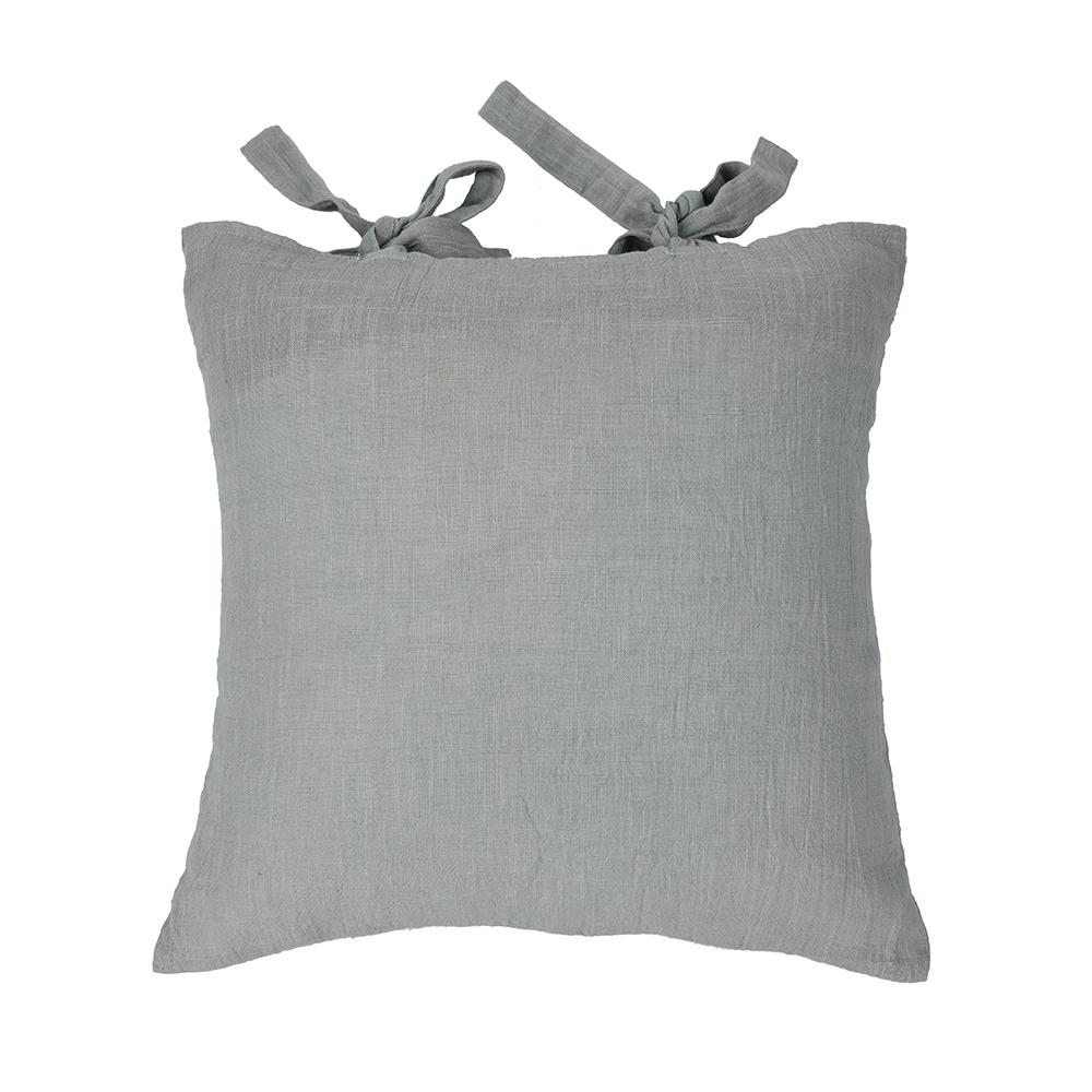 Dusty Blue Cotton Cushion Covers With Bow Ties set of 2