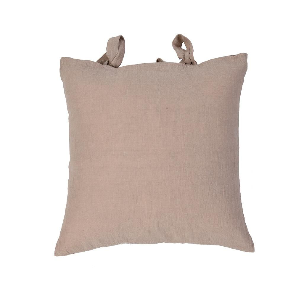 Dusty Pink Cotton Cushion Covers With Bow Ties set of 2