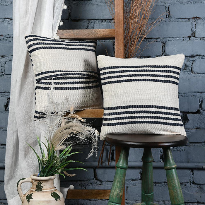 Bold Striped Black and White Cotton Cushion Covers set of 2