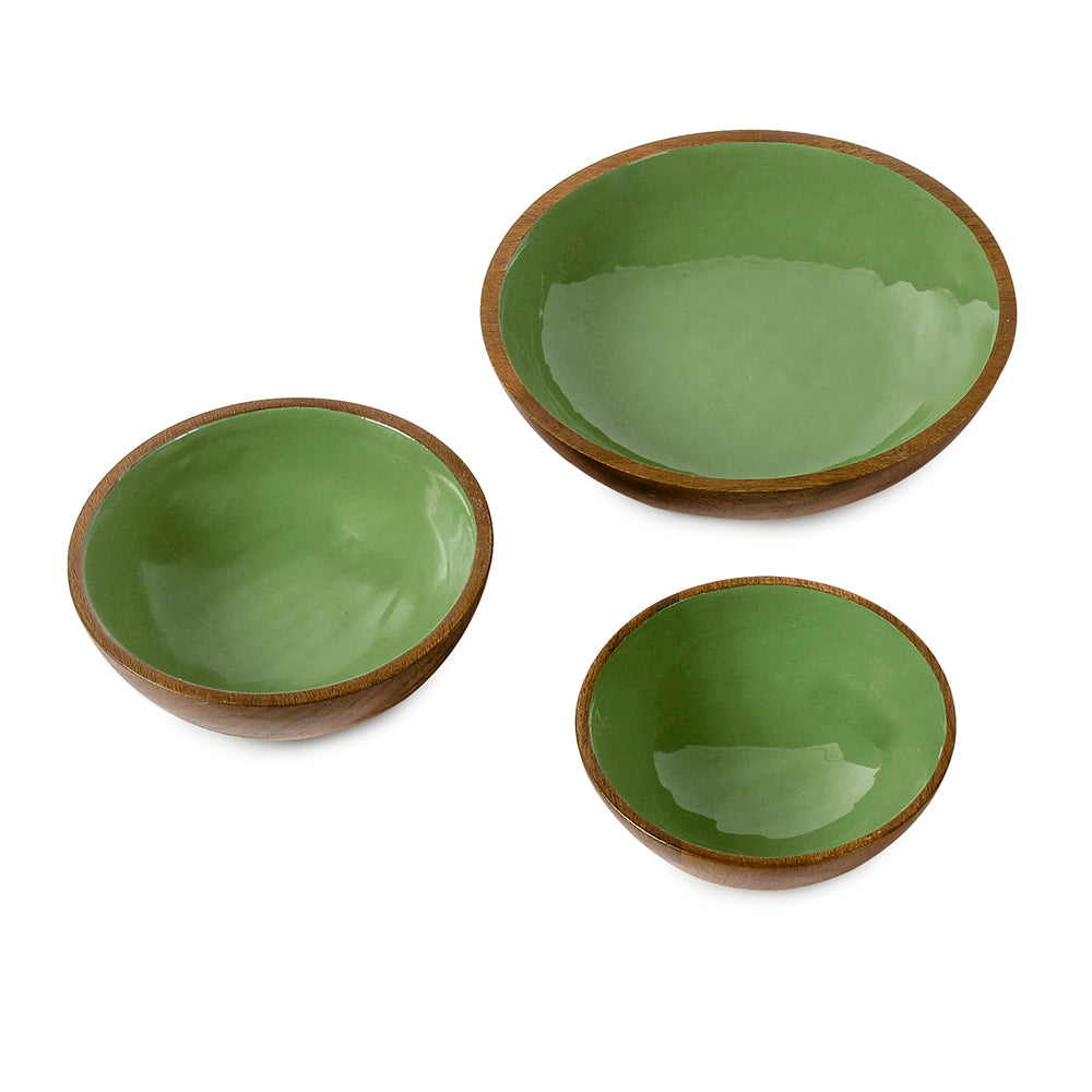 Olive Green Wooden Serving Bowl in 3 Sizes