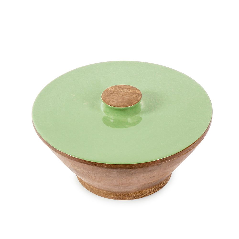 Olive Green Large Wooden Serving Bowl
