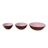 Strawberry Pink Wooden Serving Bowls in 3 Sizes