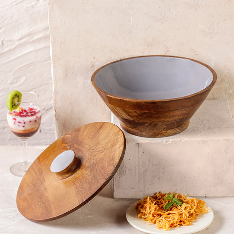 Elephant Grey Flat Lid Wooden Serving Bowl